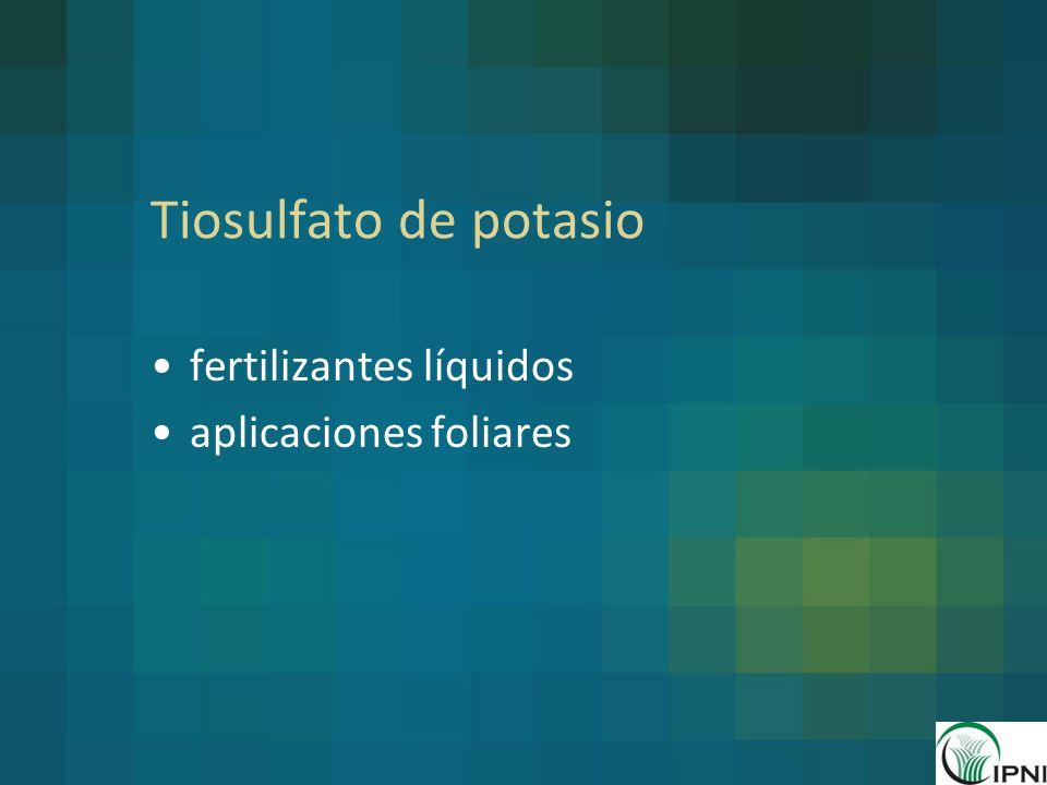 Tiosulfato de potasio fertilizantes líquidos aplicaciones foliares
