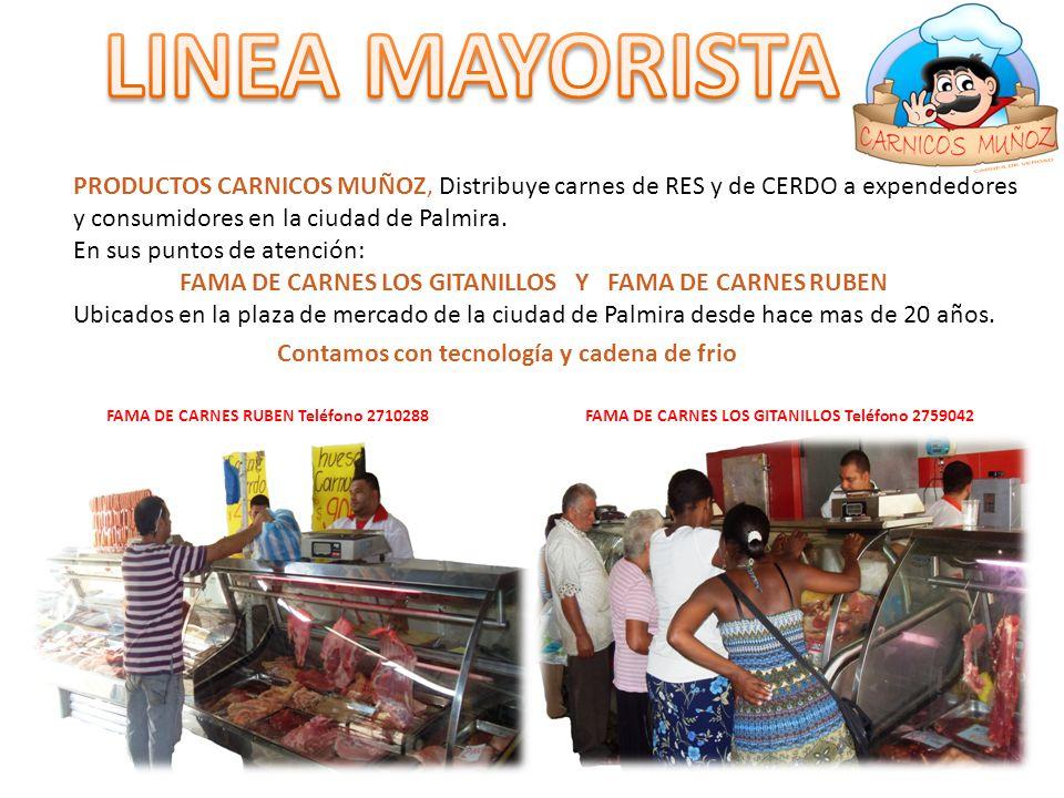 LINEA MAYORISTA PRODUCTOS CARNICOS MUÑOZ, Distribuye carnes de RES y de CERDO a expendedores y consumidores en la ciudad de Palmira.