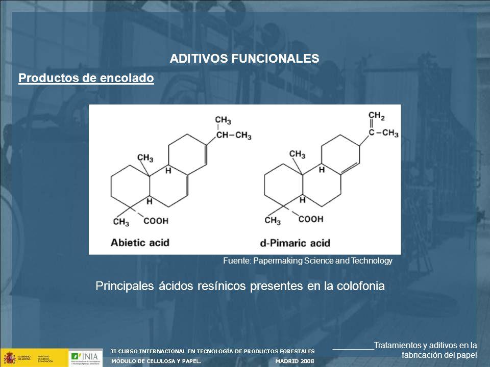 Principales ácidos resínicos presentes en la colofonia