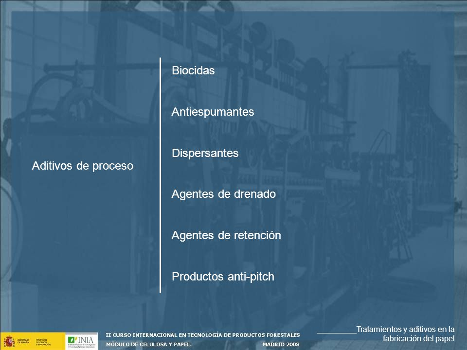 Biocidas Antiespumantes Dispersantes Aditivos de proceso
