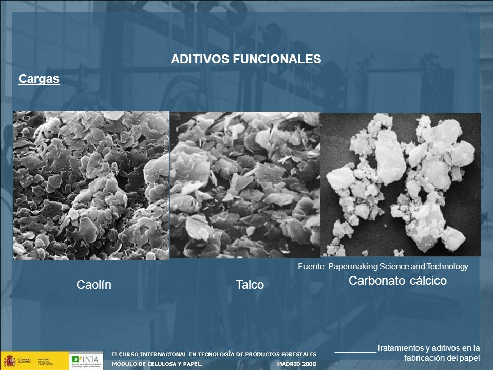 ADITIVOS FUNCIONALES Cargas Carbonato cálcico Caolín Talco
