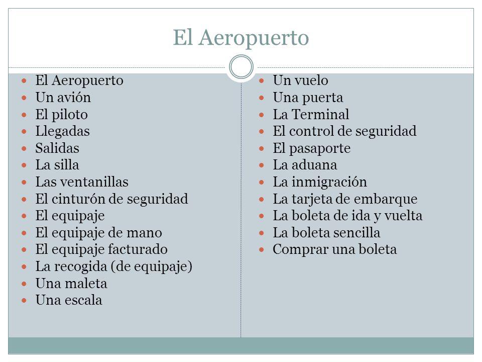 El Aeropuerto El Aeropuerto Un avión El piloto Llegadas Salidas