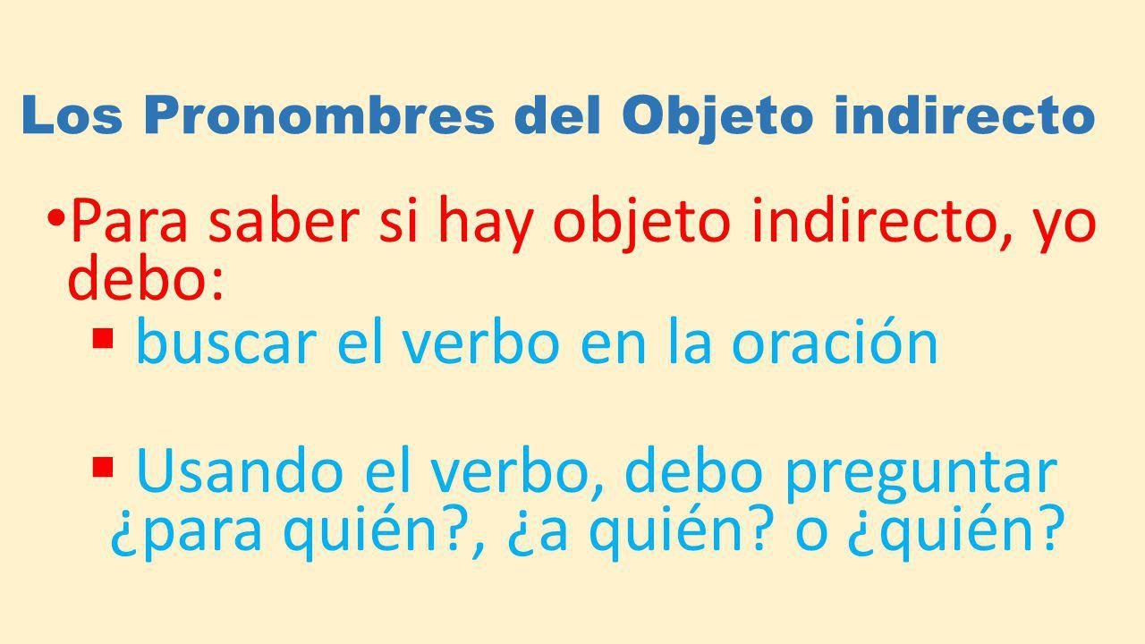 Los Pronombres del Objeto indirecto