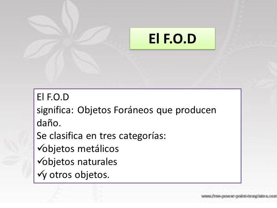 El F.O.D El F.O.D significa: Objetos Foráneos que producen daño.