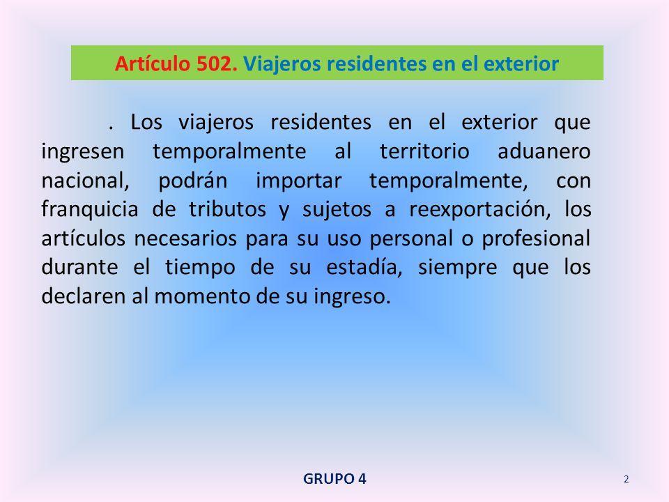 Artículo 502. Viajeros residentes en el exterior