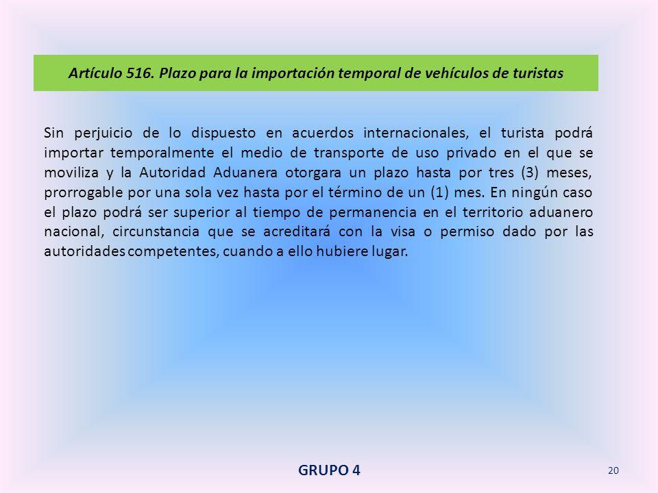 Artículo 516. Plazo para la importación temporal de vehículos de turistas