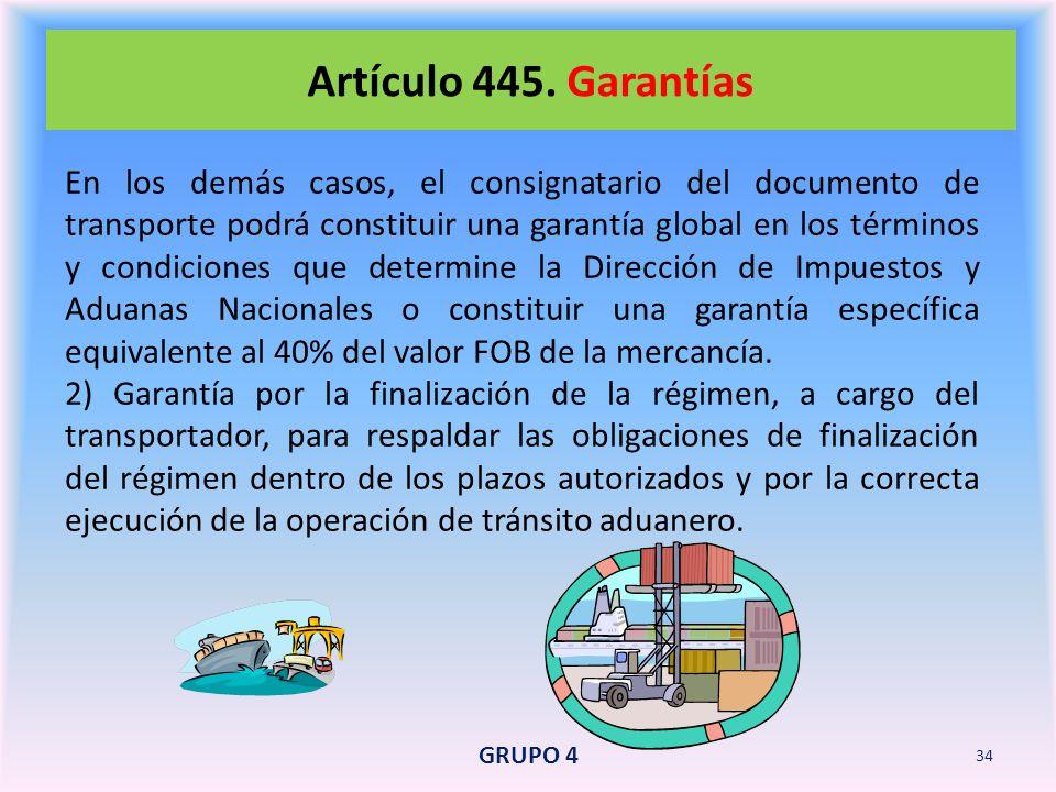 Artículo 445. Garantías