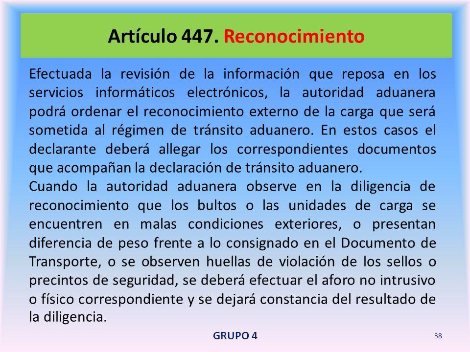Artículo 447. Reconocimiento