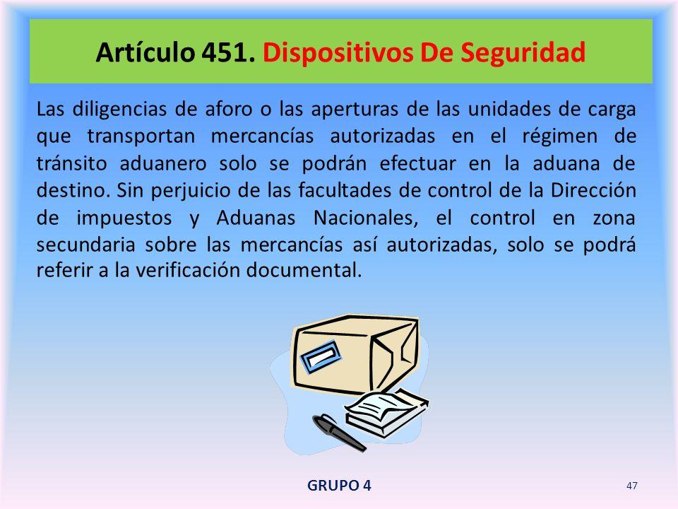 Artículo 451. Dispositivos De Seguridad