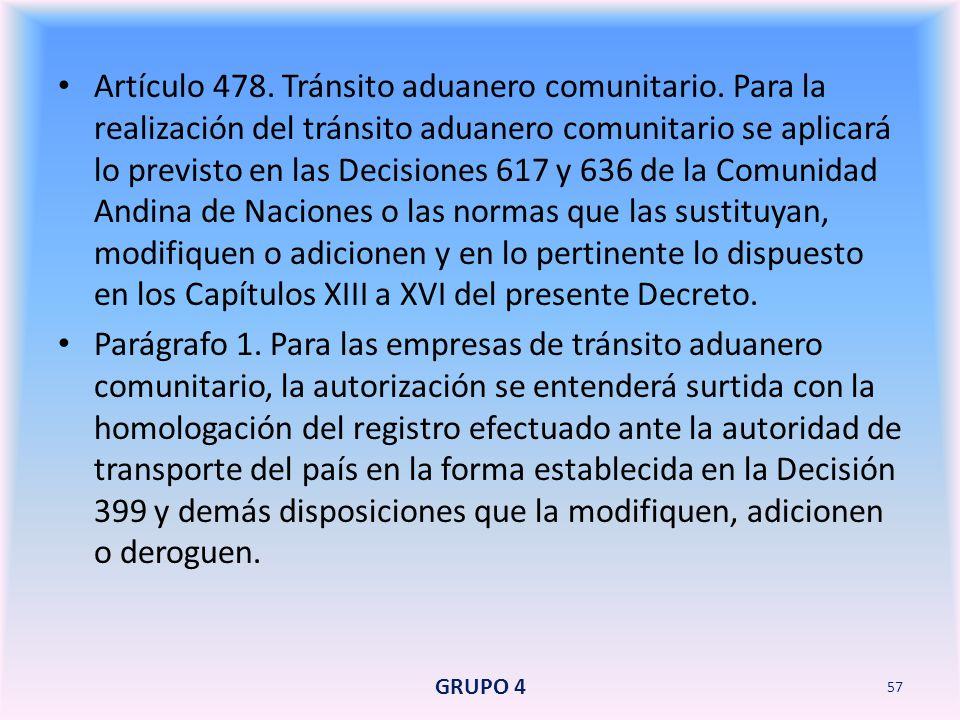 Artículo 478. Tránsito aduanero comunitario
