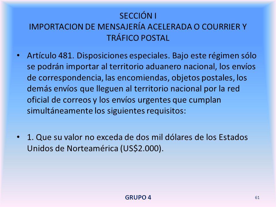 SECCIÓN I IMPORTACION DE MENSAJERÍA ACELERADA O COURRIER Y TRÁFICO POSTAL