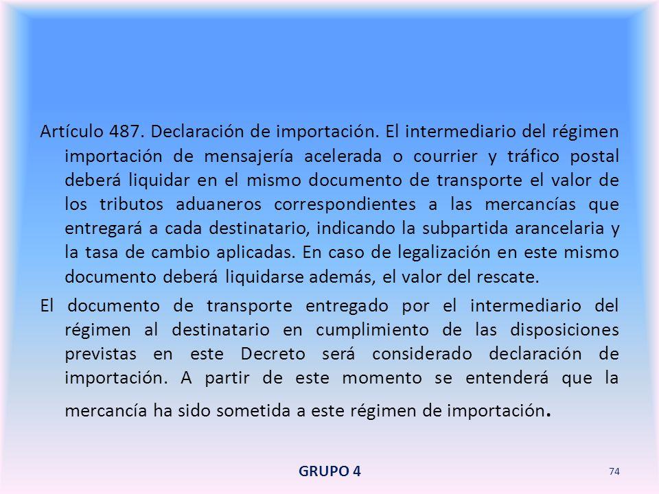 Artículo 487. Declaración de importación