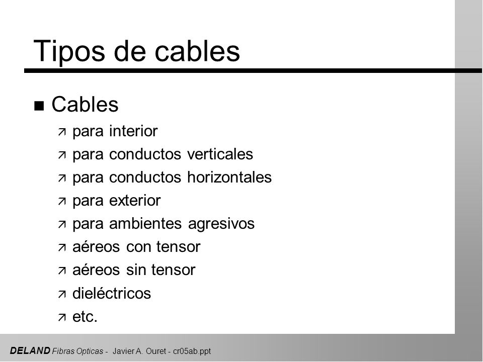 Tipos de cables Cables para interior para conductos verticales
