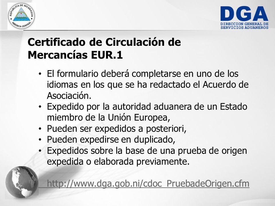 Certificado de Circulación de Mercancías EUR.1
