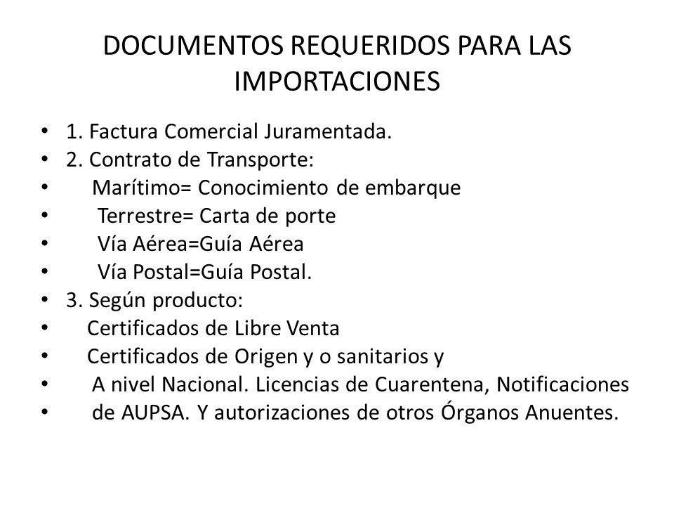 DOCUMENTOS REQUERIDOS PARA LAS IMPORTACIONES