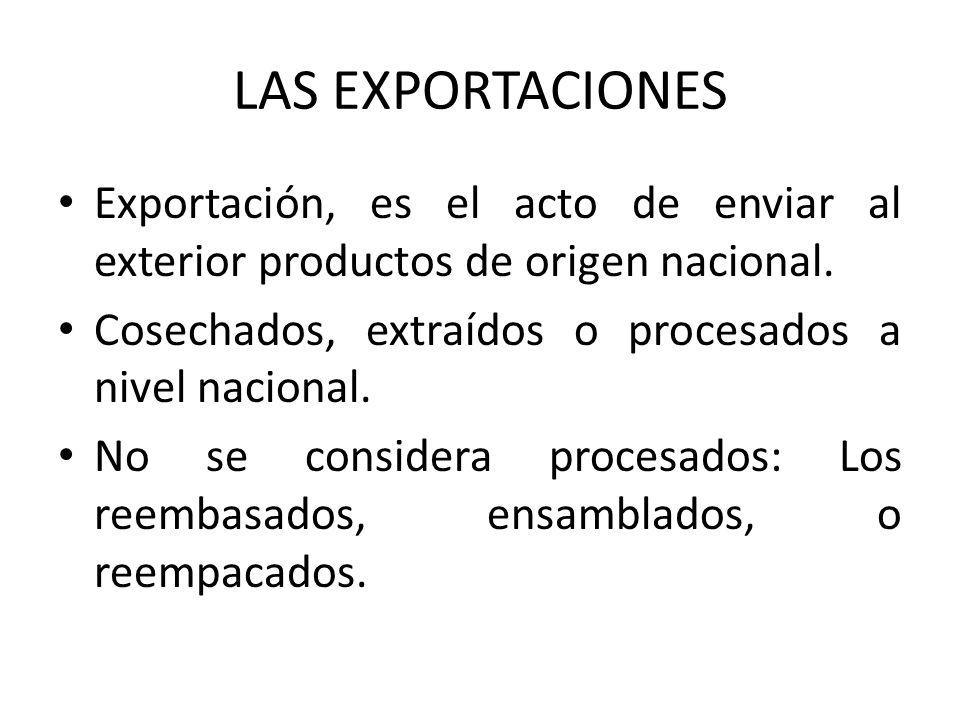 LAS EXPORTACIONES Exportación, es el acto de enviar al exterior productos de origen nacional. Cosechados, extraídos o procesados a nivel nacional.