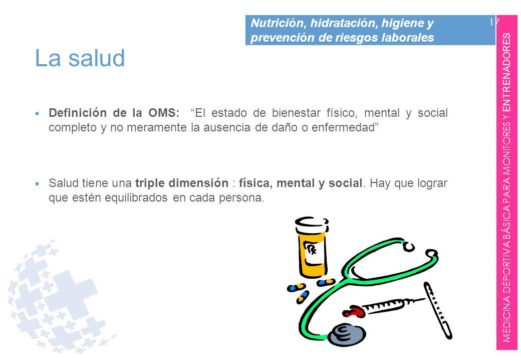 La salud Definición de la OMS: El estado de bienestar físico, mental y social completo y no meramente la ausencia de daño o enfermedad