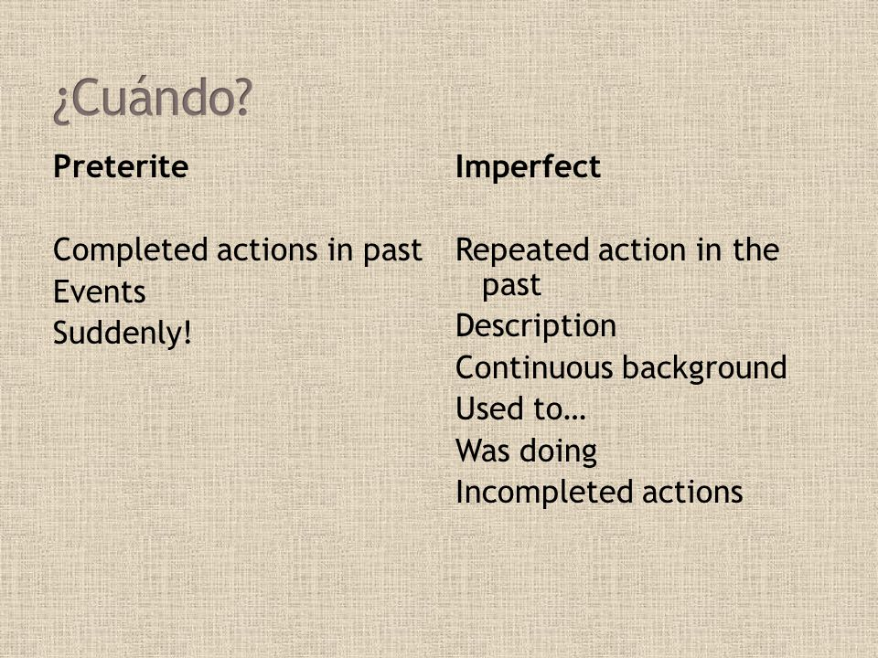 ¿Cuándo Preterite Completed actions in past Events Suddenly!