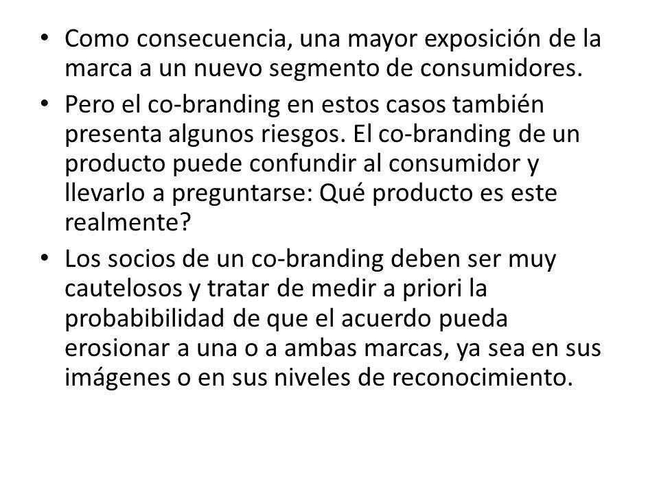 Como consecuencia, una mayor exposición de la marca a un nuevo segmento de consumidores.