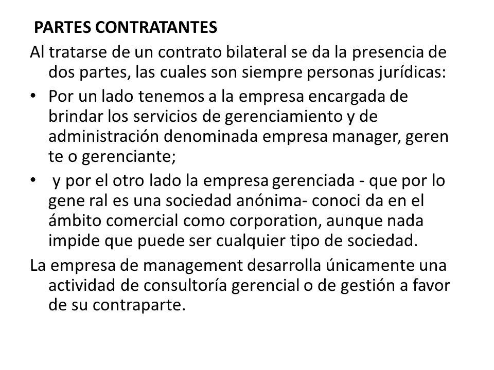 PARTES CONTRATANTES Al tratarse de un contrato bilateral se da la presencia de dos partes, las cuales son siempre personas jurídicas: