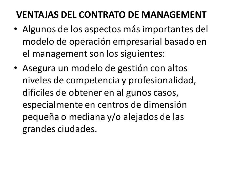 VENTAJAS DEL CONTRATO DE MANAGEMENT
