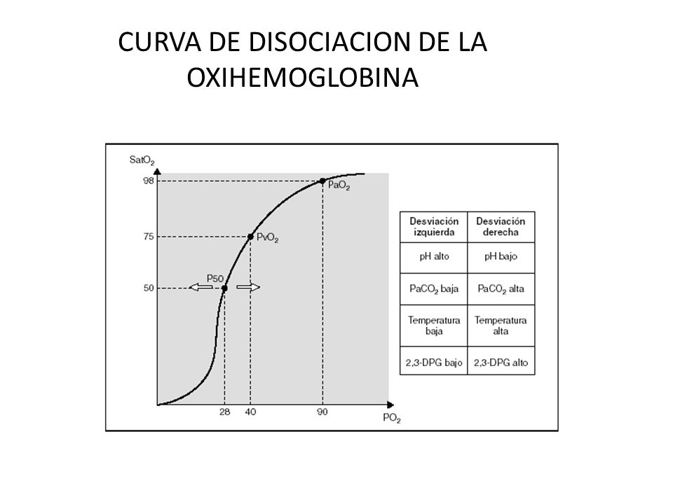 CURVA DE DISOCIACION DE LA OXIHEMOGLOBINA