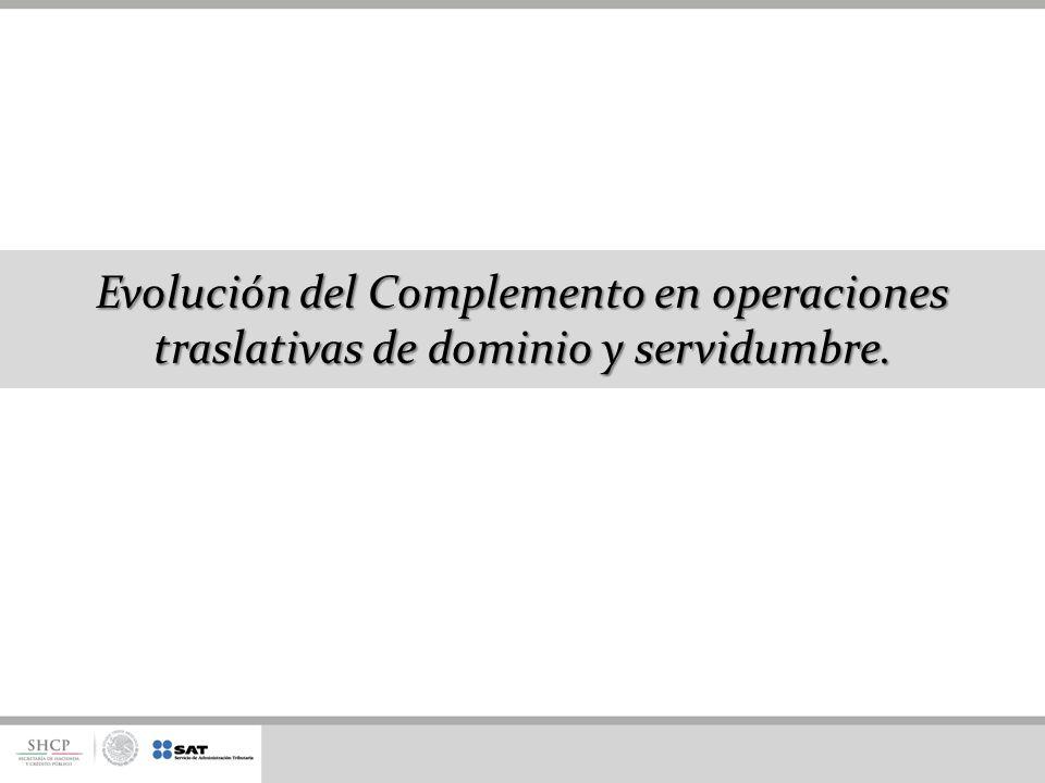 Evolución del Complemento en operaciones traslativas de dominio y servidumbre.