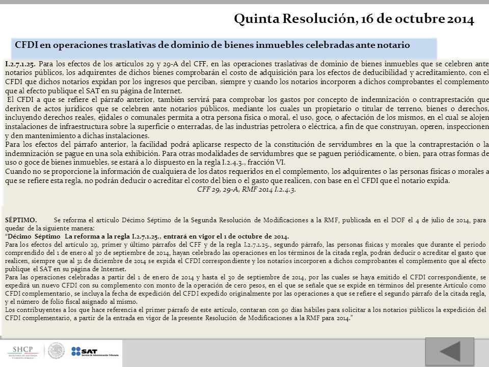 Quinta Resolución, 16 de octubre 2014