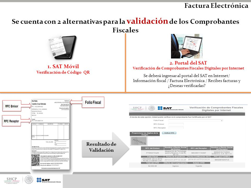 Factura Electrónica Se cuenta con 2 alternativas para la validación de los Comprobantes Fiscales. 2. Portal del SAT.