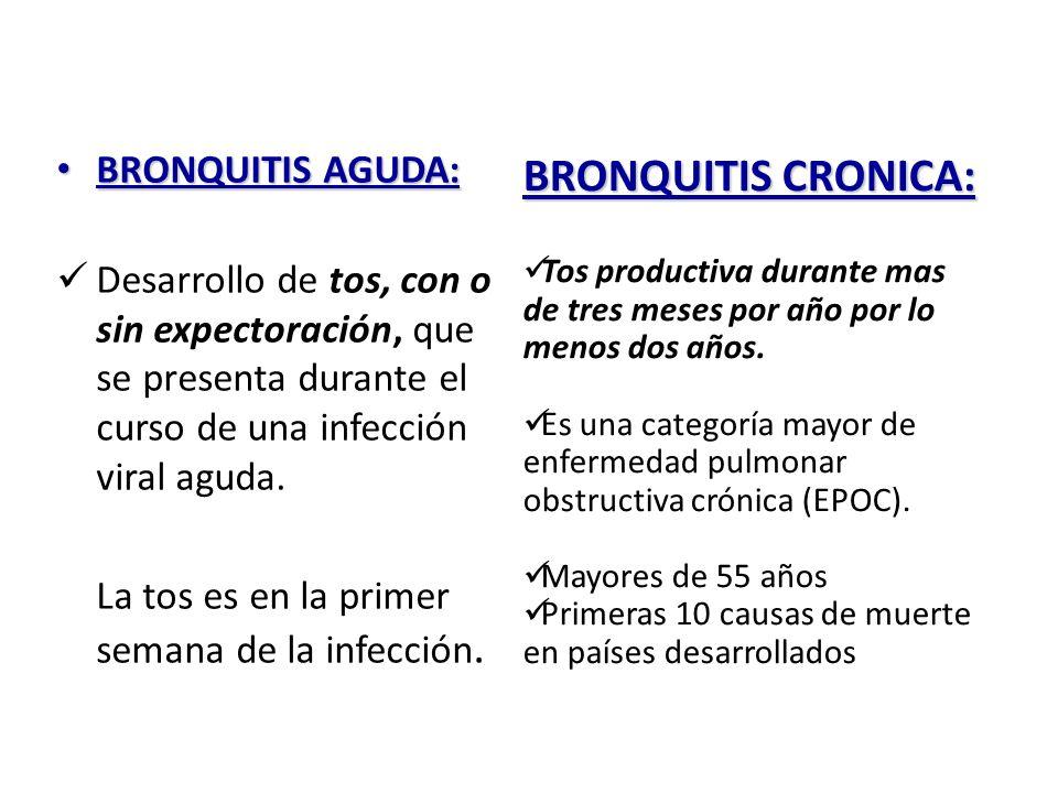 BRONQUITIS CRONICA: BRONQUITIS AGUDA:
