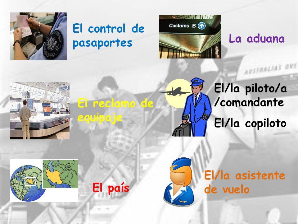 El control de pasaportes. La aduana. El/la piloto/a. /comandante. El reclamo de. equipaje. El/la copiloto.