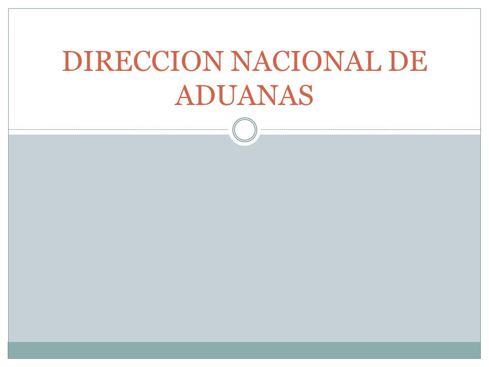 DIRECCION NACIONAL DE ADUANAS