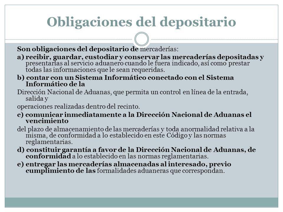 Obligaciones del depositario