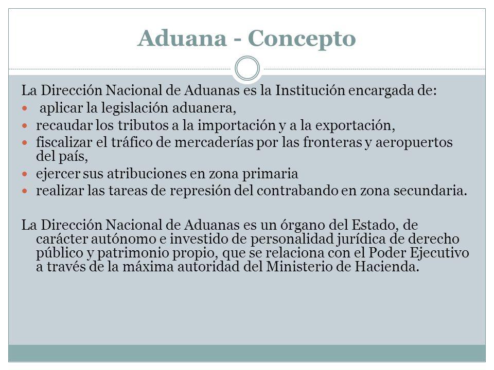 Aduana - Concepto La Dirección Nacional de Aduanas es la Institución encargada de: aplicar la legislación aduanera,
