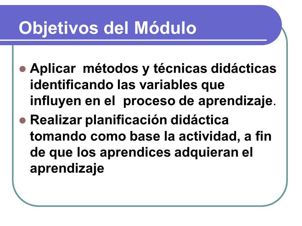 Objetivos del Módulo Aplicar métodos y técnicas didácticas identificando las variables que influyen en el proceso de aprendizaje.
