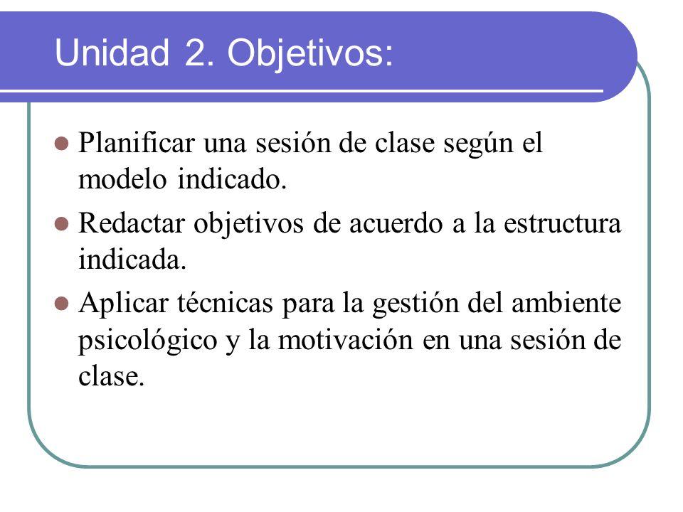 Unidad 2. Objetivos: Planificar una sesión de clase según el modelo indicado. Redactar objetivos de acuerdo a la estructura indicada.
