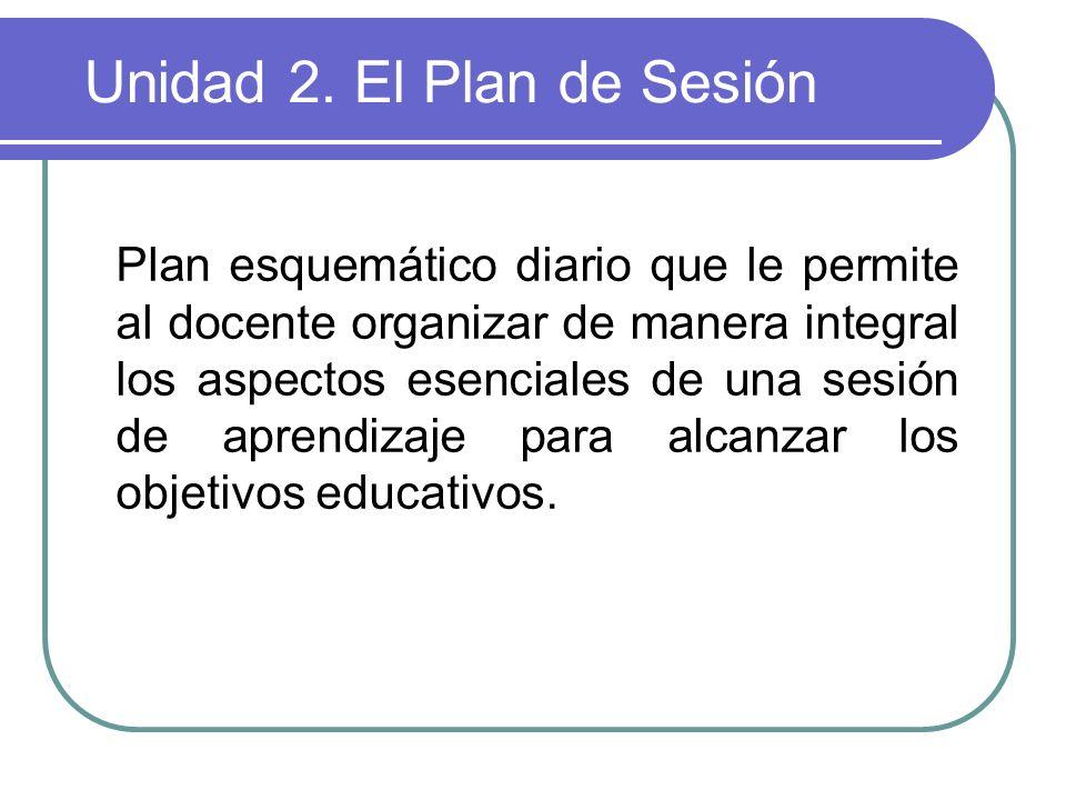 Unidad 2. El Plan de Sesión