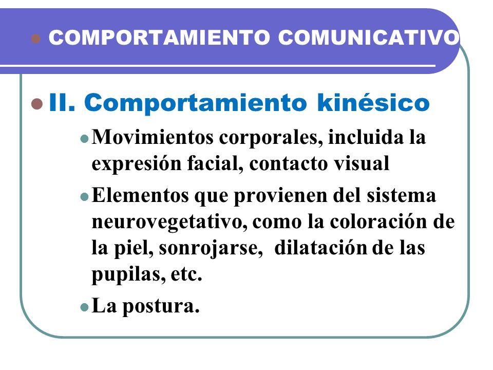 II. Comportamiento kinésico