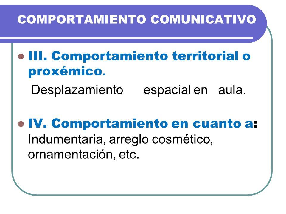 III. Comportamiento territorial o proxémico.