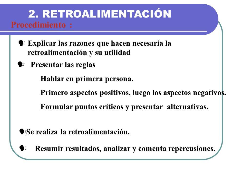 2. RETROALIMENTACIÓN Procedimiento :