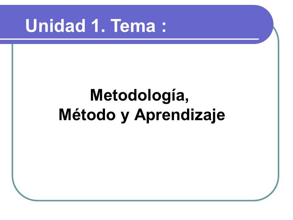 Metodología, Método y Aprendizaje