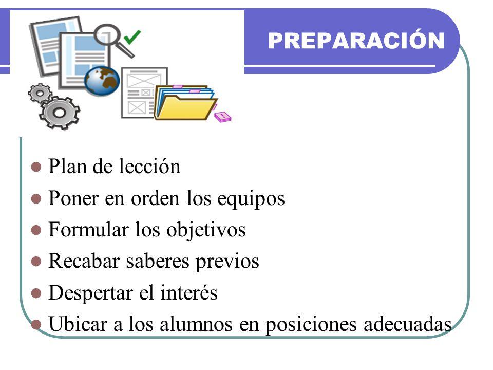 PREPARACIÓN Plan de lección. Poner en orden los equipos. Formular los objetivos. Recabar saberes previos.