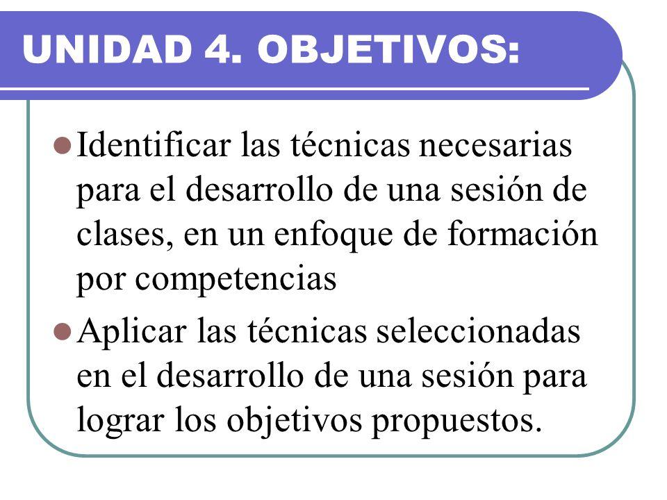 UNIDAD 4. OBJETIVOS: Identificar las técnicas necesarias para el desarrollo de una sesión de clases, en un enfoque de formación por competencias.