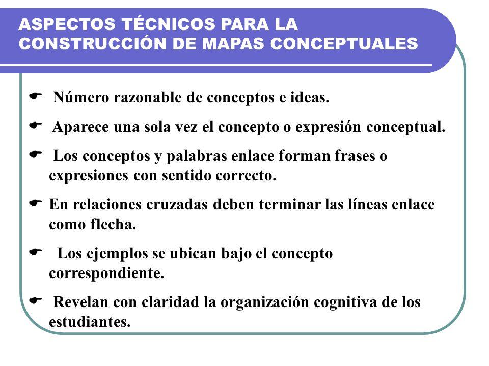 ASPECTOS TÉCNICOS PARA LA CONSTRUCCIÓN DE MAPAS CONCEPTUALES