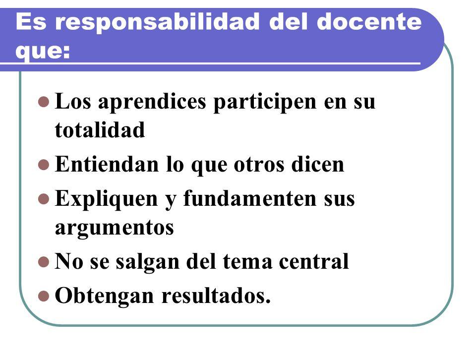 Es responsabilidad del docente que: