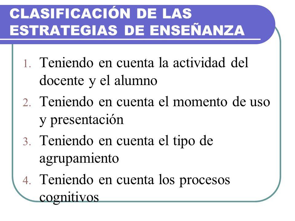 CLASIFICACIÓN DE LAS ESTRATEGIAS DE ENSEÑANZA