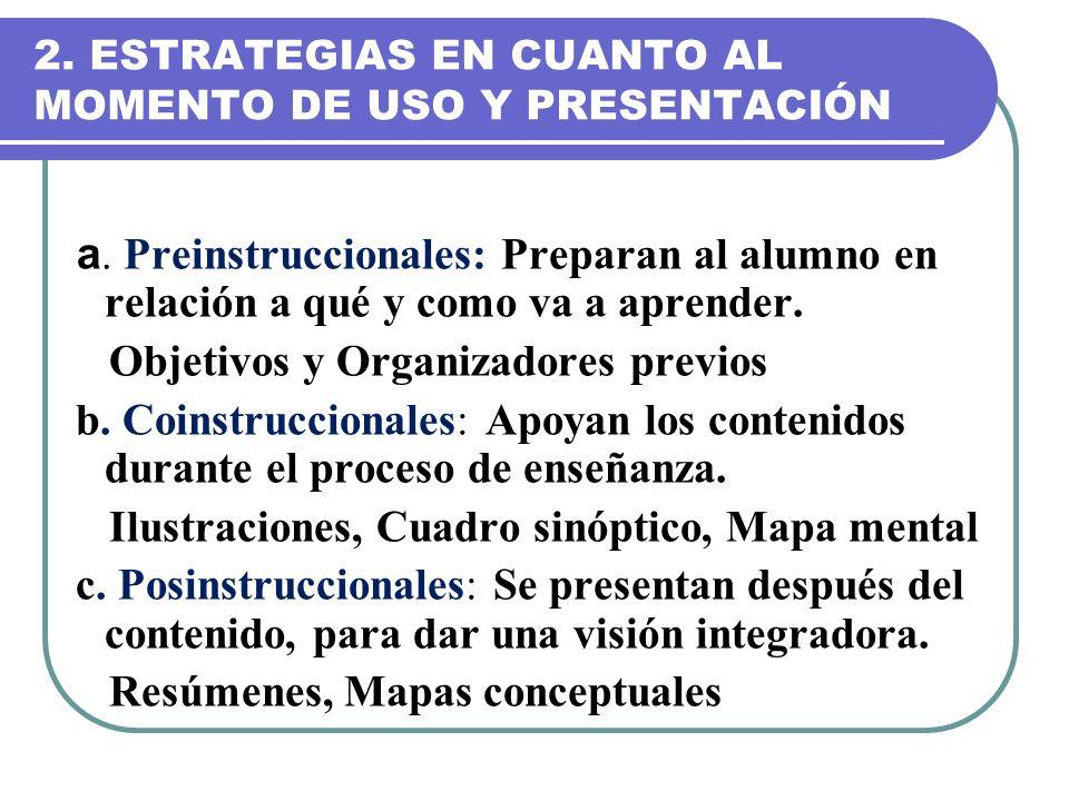 2. ESTRATEGIAS EN CUANTO AL MOMENTO DE USO Y PRESENTACIÓN
