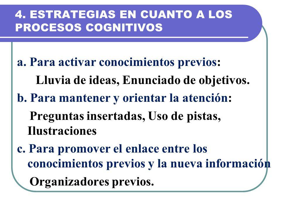 4. ESTRATEGIAS EN CUANTO A LOS PROCESOS COGNITIVOS