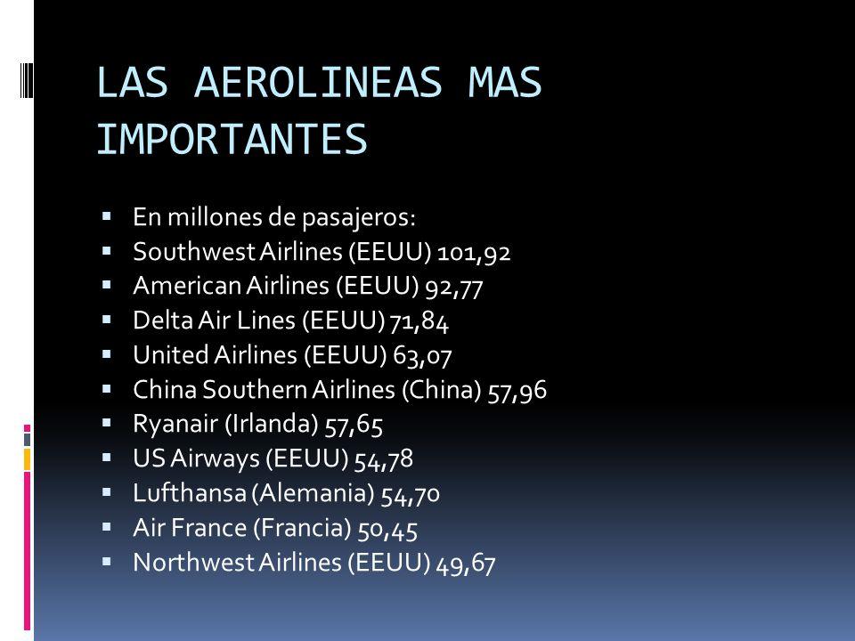 LAS AEROLINEAS MAS IMPORTANTES