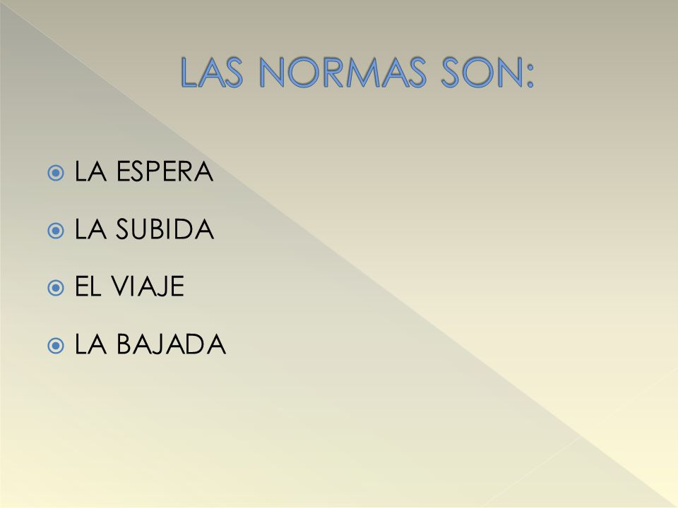LAS NORMAS SON: LA ESPERA LA SUBIDA EL VIAJE LA BAJADA